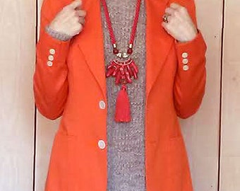 WOMENS VINTAGE BLAZER Tangerine Orange Twill 1960s/70s Sport Coat Jacket Slim Fit- size 8