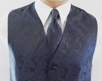 Mens Vest Pewter gray Tone On Tone Satin Paisley Vest Tie And Pocket Square Set