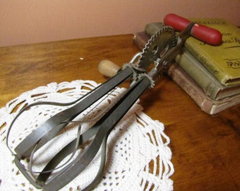 Vintage Red Wooden Handled Hand Mixer