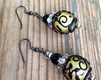 Asian lantern inspired handmade boho bead earrings