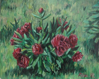 "Original floral  oil painting ""Peonies"""