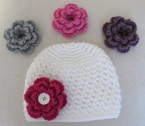 Interchangeable Crochet Flower Pattern : Crochet Hat Girl Interchangeable Flowers Button Toddler Girl