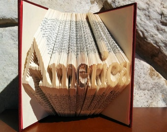America - Folded Book Art - Fully Customizable, USA, patriotic