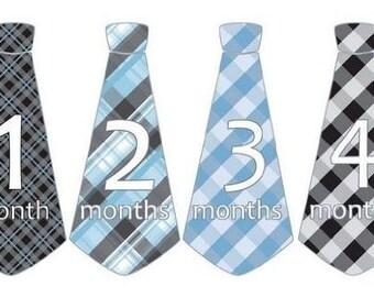 PRECUT Peel & Stick Monthly Baby Boy Tie Stickers Neck Ties Necktie Argyle Gingham Plaids Black Blues