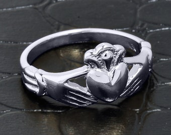 Claddagh Ring, white gold claddagh ring, claddagh wedding engagement ring, white gold claddagh wedding ring, claddagh wedding band