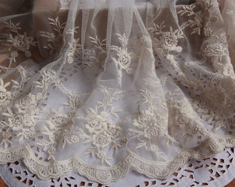 Ivory Vintage Rose Embroidery Lace Tulle Lace Trims 9.44 Inches Wide 2 Yards L067