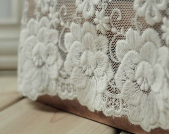 White Rose Lace Cotton Trim Embroidery Tulle Lace Trim 5.11 Inches Wide 2 Yards K030
