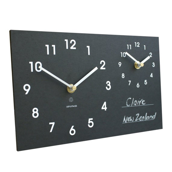 Eco recycled dual time zone classic wall clock with chalk for Dual time wall clock
