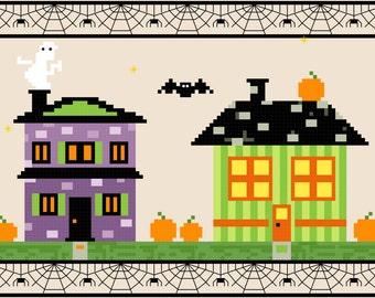 Halloween Village Cross Stitch Pattern 7x5
