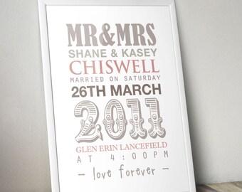 Wedding Gift, Personalised Wedding Print, Custom Wedding Print, Anniversary Gift
