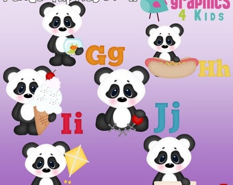 Panda Alphabet 2 Digital Clipart - Clip art for scrapbooking, party invitations - Instant Download Clipart Commercial Use