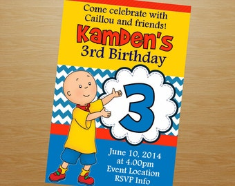 Caillou Birthday Invitation - Caillou Invitation - Caillou Invite - Printable Invitation - Digital