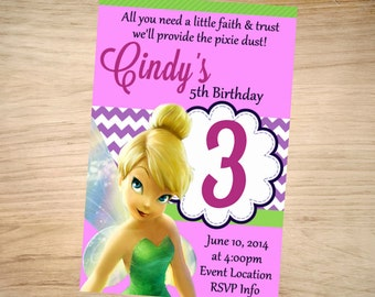 Tinkerbell Birthday Invitation - Tinkerbell Invitation - Tinkerbell Invite - Printable Invitation - Digital - Tinker Bell