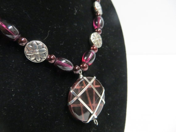 Plum Purple and Silver Necklace