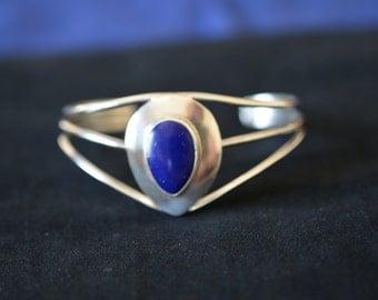 Sterling silver and Lapis Lazuli vintage cuff bracelet