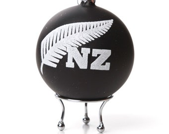Handpainted NZ Fern Glass Bauble