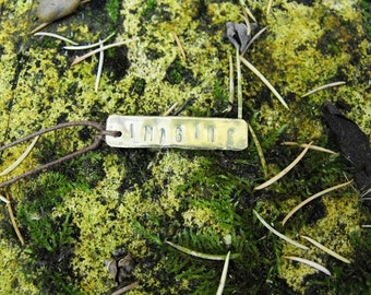 IMAGINE Recycled Brass Handmade Positive Affirmation Necklace
