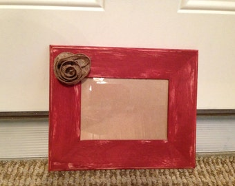 5x7 Rustic Picture Frame with Burlap Flower