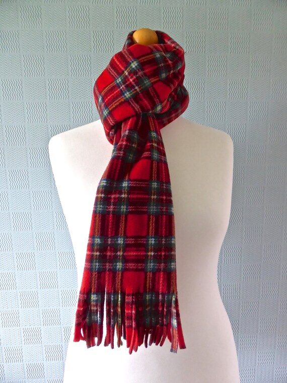 Red tartan scarf extra long red plaid scarf red tartan