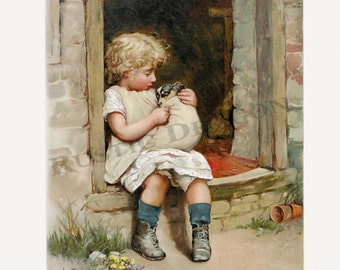 A Sick Puppy Reproduction Digital Print Wall Hanging Child Animall Print Little Girl Puppy