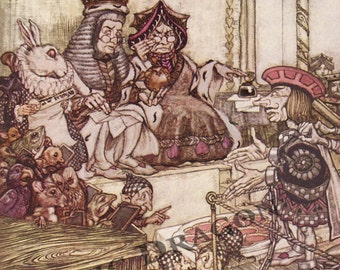 "Arthur Rackham ""Who Stole the Tarts?"""" 1907 Reproduction Digital Print Alice In Wonderland Queen King Hare Cards"