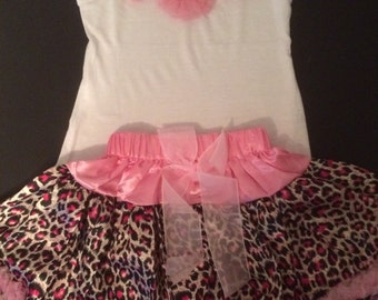 SALE...Leopard skirt and tank 12-24 months
