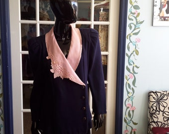 Act I vintage 1980 womens jacket pink and navy with lace and beads puff sleeves