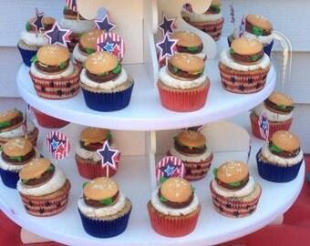 Hamburger Cookies or Cupcake Topper