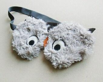 Plush Owl sleep mask with pouch