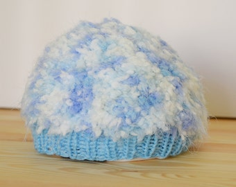 Hand Made Knitted Baby Beanie 0-3 months - Fluffy Blue