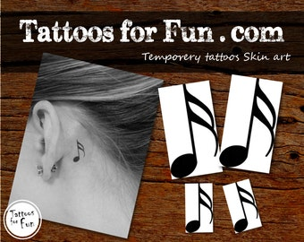 Music Note Temporary Tattoos- Choose Your Pack- Music Lover Temporary Tattoo- Musical Fake Tattoo- Music Fashionable Tattoo- Water Ink tatts