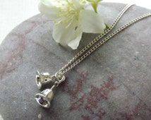 Silver Bells Necklace~Sterling Silver~Silver Bells on Chain~Wedding Bells~UK Jewellery Seller~Eleanor Rose Designs~UK Shop