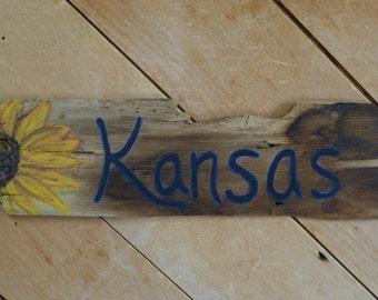 Kansas Antique Wood Shingle, Sunflower, Kansas Sign, Sunflower Sign