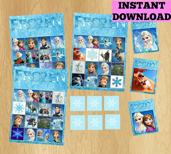 14 Bingo Cards Frozen Bingo Game Set Frozen By Kidspartypixel