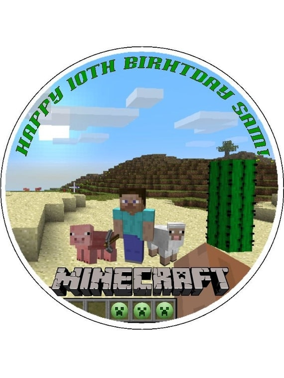 Minecraft Cake Topper Rice Paper Personalised With Name Age