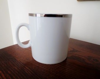 White ceramic coffee mug with silver edge Michaud Eastern Airlines Japan