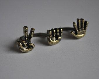 Rock Paper Scissors Dual Finger Adjustable Gold Colour Ring