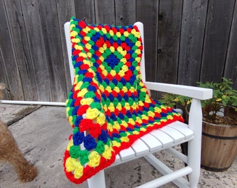 Crochet Primary-colored Granny-square Car Seat Afghan