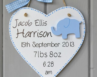 Personalised new baby plaque. Personalised baby boy gift and Keepsake, elephant decoration