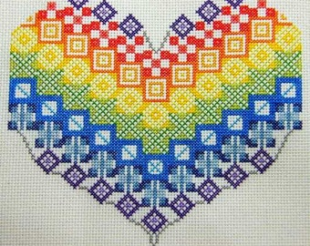Patchwork Rainbow Heart Counted Cross Stitch Kit on 18 count Aida in Rainbow colours