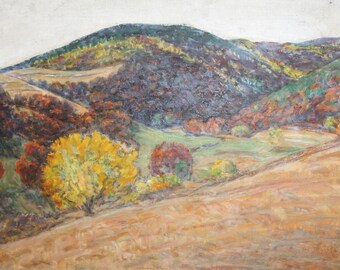 Vintage European art  post impressionist oil painting landscape