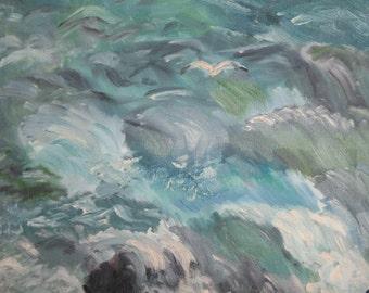 European art oil painting seascape 1985 signed