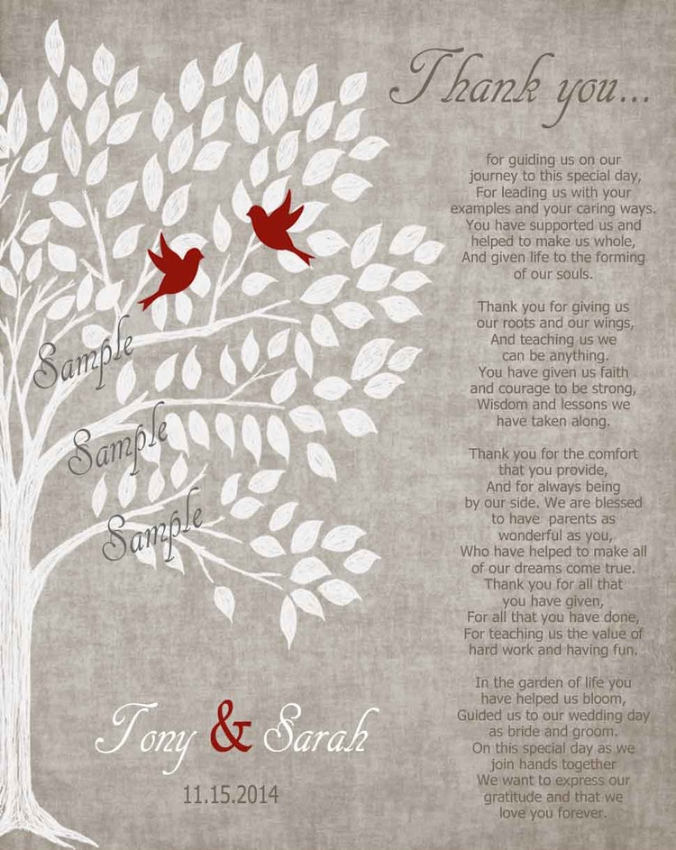 Gift For Mom On Wedding Day: Parents Wedding Gift Personalized Parent's Poem By