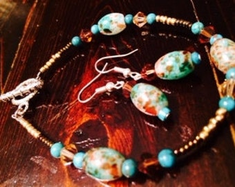 Turquoise and Swavorski Crystal bracelet and earrings