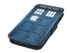 Police Box Dr Who Tardis Inspired Printed Leather Flip Phone Case Cover fits iPhone 4/4s 5/5s 5c S3 S4 S5 Mini Gift Idea