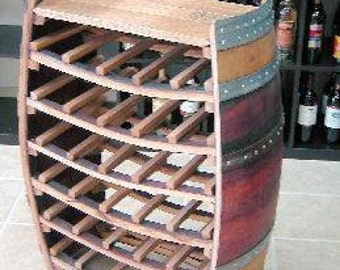 "Whole Barrel Wine Rack with Counter Top, Holds up to 36 Bottles, 36""h X 26""w X 10""d, WBR-36F"