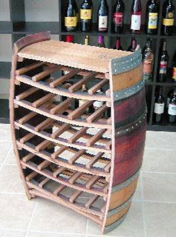 Whole Barrel Wine Rack With Counter Top Holds Up To 36