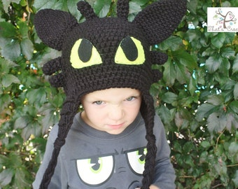 How to Train your Dragon Toothless hat, Children's hat, Adult hat, Night Fury, Crochet hat
