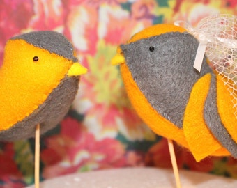 Handmade Felt Lovebird Cake Toppers - Pair of grey and orange birds, with your choice of accessories