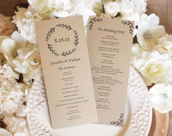 Printable Wedding Program Template, Rustic Wedding Programs, Editable Text, Instant Download, Tea Length, Woodland Wreath